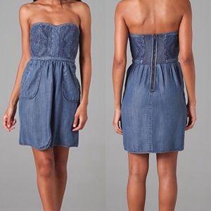 Rebecca Taylor Embroidered Denim Quilt Dress 0